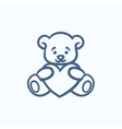 Teddy bear with heart sketch icon vector image vector image