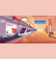 train in metro station empty subway platform vector image
