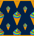 unicorn ice cream seamless pattern rainbow vector image