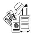 vacations suitcase passport tickets hat vector image vector image