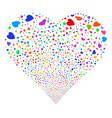 valentine petals fireworks heart vector image