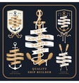 Vintage nautical anchor and ribbon labels set on vector image