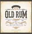 vintage old rum label for bottle vector image vector image