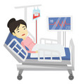 woman lying in hospital bed vector image vector image