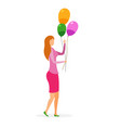 woman with inflatable balloons vector image