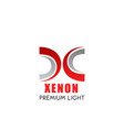 xenon light symbol with modern font x letter vector image