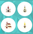 flat icon building set of traditional structure vector image