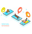 3d isometric flat concept social vector image vector image