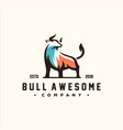 awesome bull color logo design vector image vector image