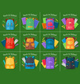 back to school set of different kinds backpacks vector image vector image