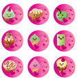 badges kawaii food vector image