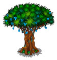 big fairy tree with blue flowers and energy veins vector image vector image