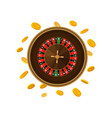 casino roulette game and falling golden coins vector image
