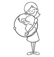 child and earth line art vector image vector image