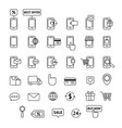 collection of line icons mobile shopping mobile vector image vector image