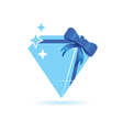 diamond blue with bow vector image