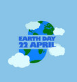 earth day 22 april typography at the bottom and vector image