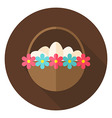 Easter Basket with Eggs and Flowers Circle Icon vector image vector image