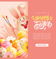 easter bunny with art paint brushes and colored vector image vector image