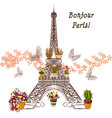 eiffel tower and potters fully of flowers vector image vector image