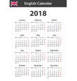 english calendar for 2018 scheduler agenda or vector image vector image