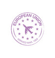 european union arrival ink stamp on passport vector image vector image