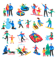 Family Winter Sports Icons Set vector image vector image