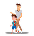 father leads to school child boy in new school vector image vector image