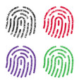 fingerprint icon sign shape grunge set ink stamp vector image