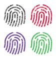 Fingerprint icon sign shape grunge set ink stamp