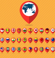 Flat icon set check in and flags vector image vector image
