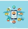 Flat social media and network concept Business vector image