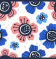 flowers hand drawn flat seamless pattern vector image vector image