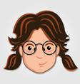 funny cartoon girl face icon vector image vector image