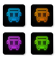 glowing neon bus icon isolated on white vector image vector image