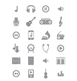 Gray music icons set vector image