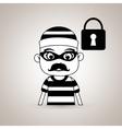 hacker security padlock vector image