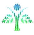 halftone blue-green eco man icon vector image vector image