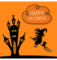 Haunted house Happy Halloween witch and black cat vector image vector image