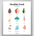healthy food icons flat pack vector image