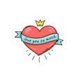 heart with text on ribbon and with crown in doodle vector image vector image