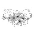 line art decorative lily composition vector image vector image