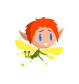 little winged elf boy with red hair cute vector image vector image