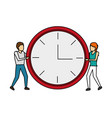 man and women with clock time vector image vector image