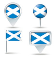 Map pins with flag of Scotland vector image