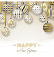 new year background with colorful ornate balls vector image