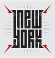 new york - poster with red lightnings tee shirt vector image vector image