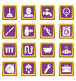 plumber symbols icons set purple square vector image vector image
