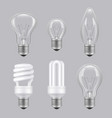 realistic bulbs lighting electricity glass vector image