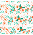 seamless christmas pattern hand drawn vector image vector image